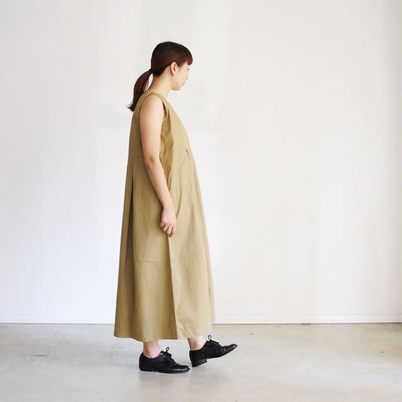 i c h i 181033 Cotton Chino No Sleeve Dress / Beige