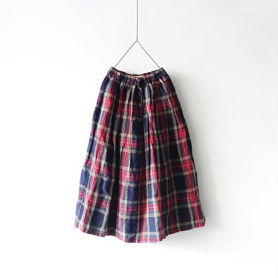 ichiAntiquités 100607 LinenTartan Skirt / NAVY