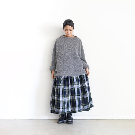 ichiAntiquités 100607 LinenTartan Skirt / GREEN