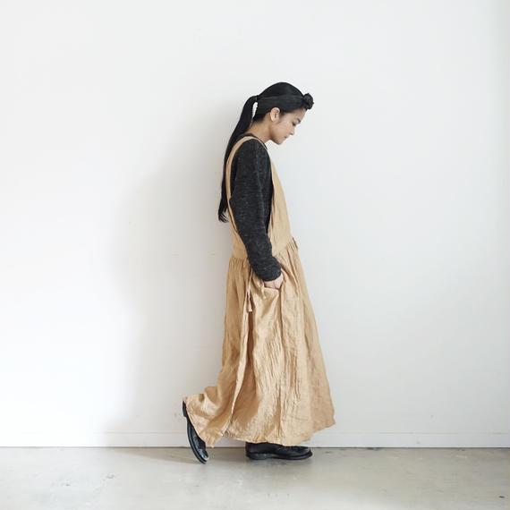 ichiAntiquités 100626 Linen Herringbone 2way Dress / CAMEL