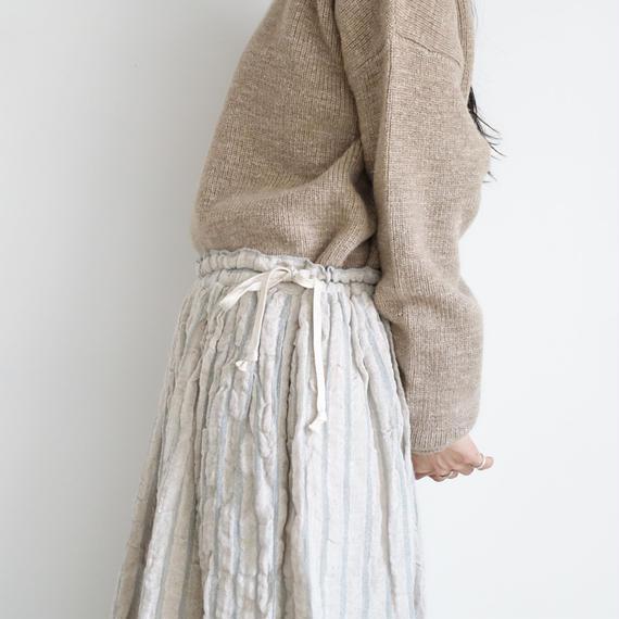 ichiAntiquités 100613 Linen Wool Stripe Skirt / BLUE