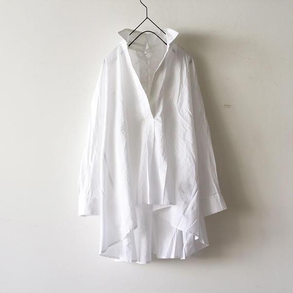 i c h i 180420 Cotton/Linen Lace-up Shirts / White
