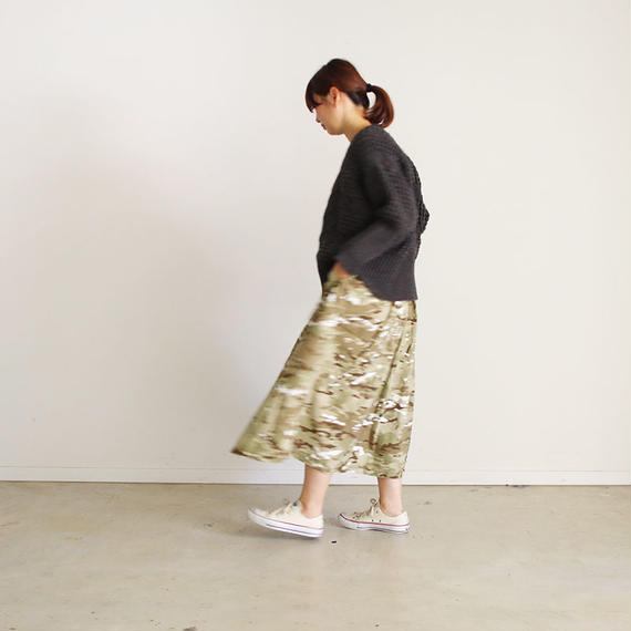 i c h i 180538 Rip Stop Skirt / Camouflage Light