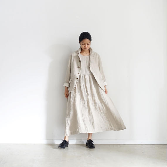 ichiAntiquités 100923  Linen AZUMADAKI Dress / NATURAL