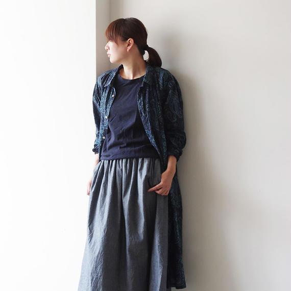 i c h i 180423 Cotton / Silk Paisley Dress / Navy