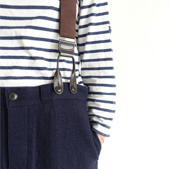ichiAntiquités 100321 Cotton Wool Pants + Suspenders / NAVY