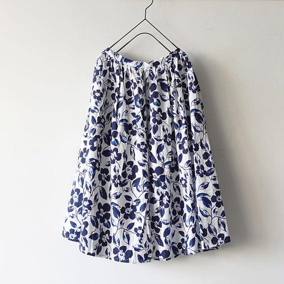 i c h i 181108 Cotton Flower Skirt / Blue