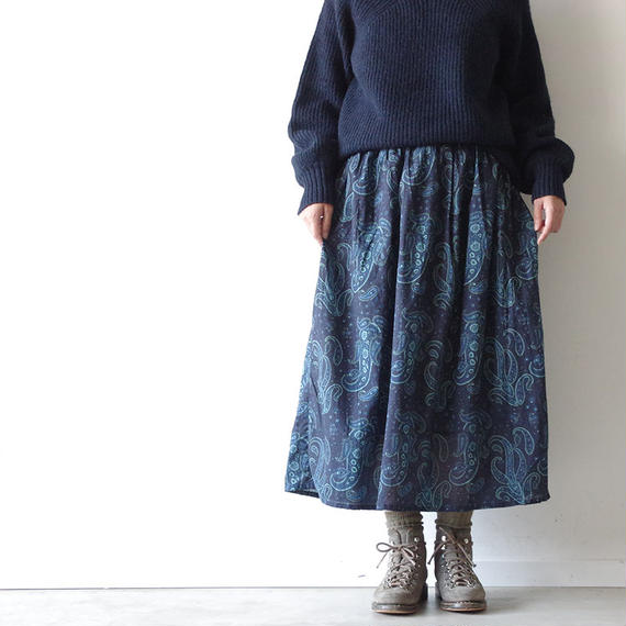 i c h i 180424 Cotton / Silk Paisley Skirt / Navy