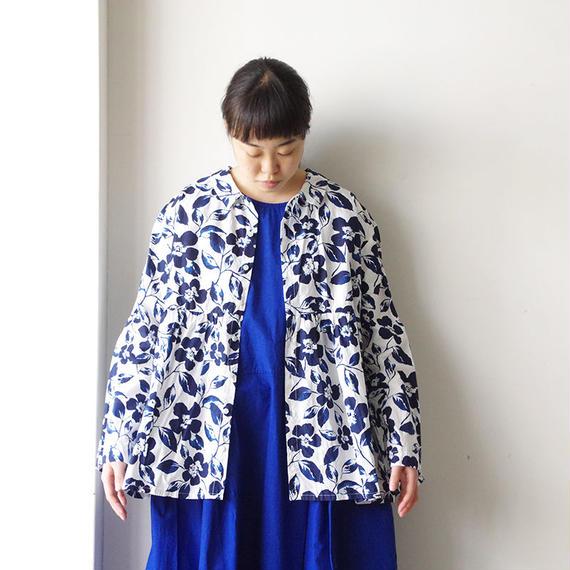 i c h i 181106 Cotton Flower Blouse / Blue