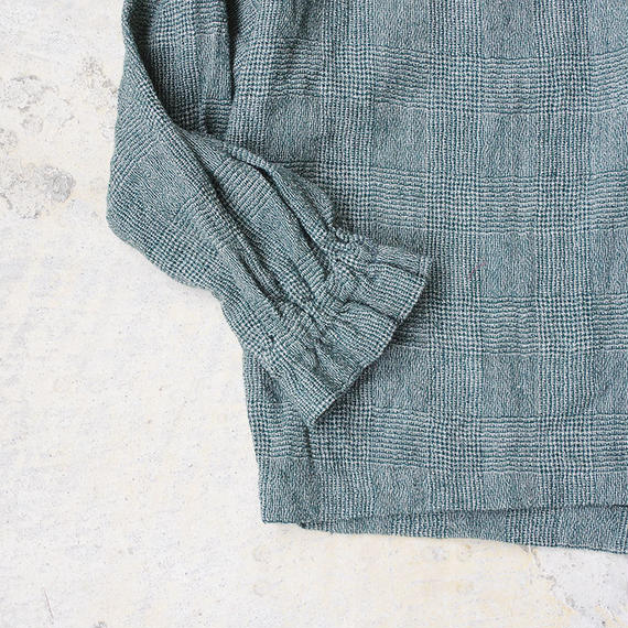 i c h i 180413 Wool Gauze Glen Check 2Way Pull Over / Green