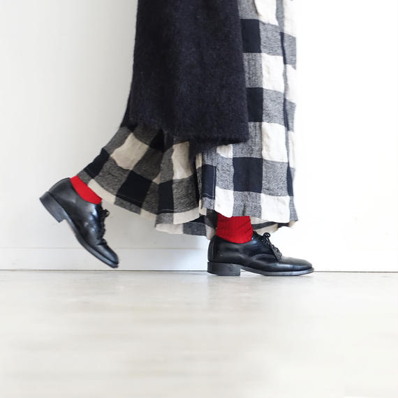 ichiAntiquités 100617 Linen Wool Block Check Pants / BLACK