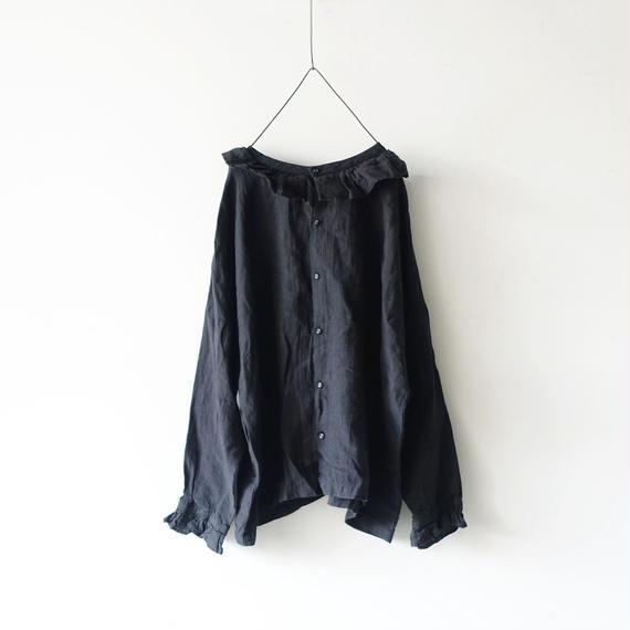 ichiAntiquités 100619 Linen Frill Pullover / BLACK