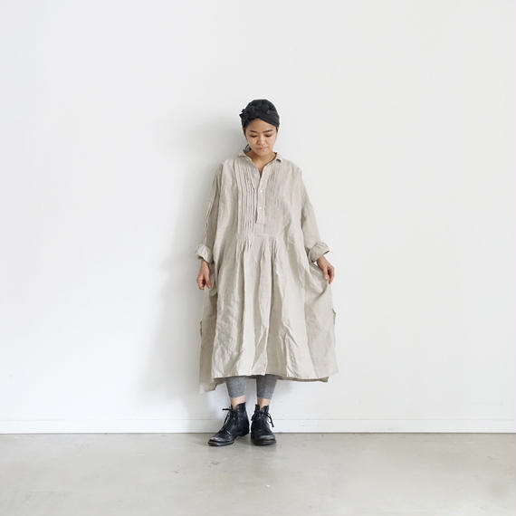 ichiAntiquités 100901  Linen Big Shirt Dress / NATURAL