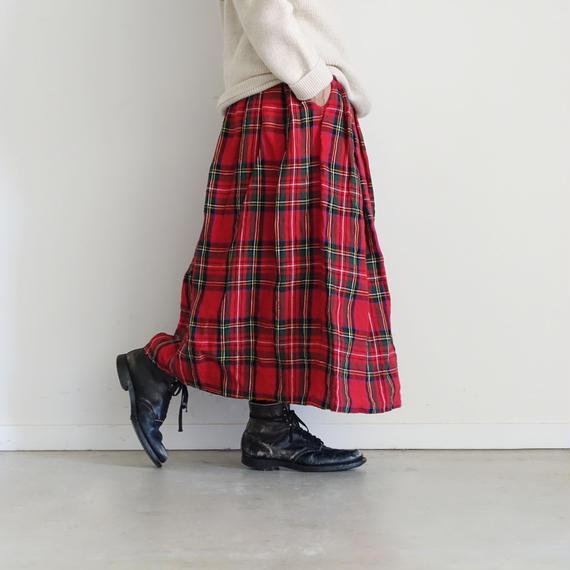 ichiAntiquités 100607 LinenTartan Skirt / RED