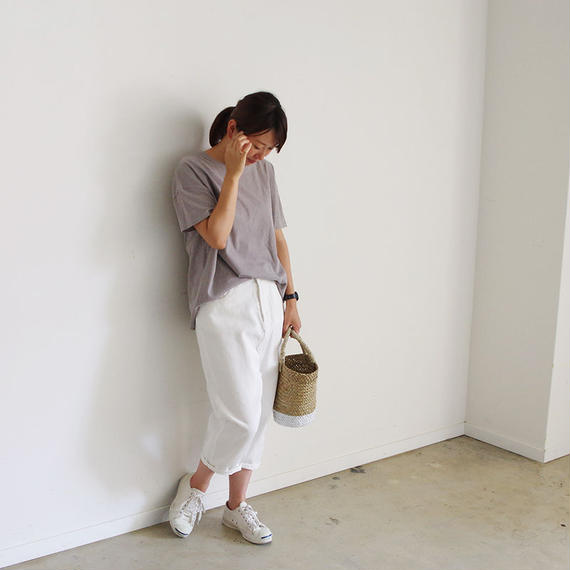 i c h i 140434 Denim Sarrouel Pants / White
