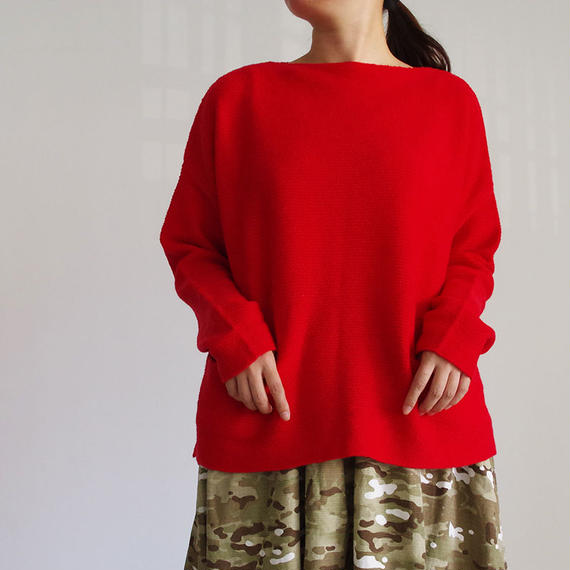 i c h i 180581 Knit Pullover / White&Red