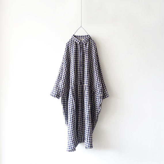 ichiAntiquités 100935  Linen Gingham Shirt Dress / NAVY