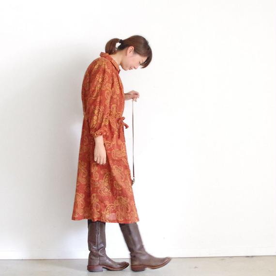 i c h i 180423 Cotton / Silk Paisley Dress / Red