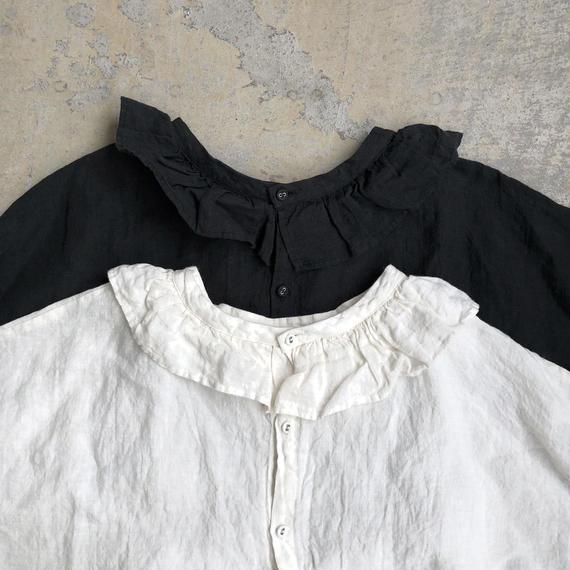 ichiAntiquités 100620 Linen Frill Dress / WHITE