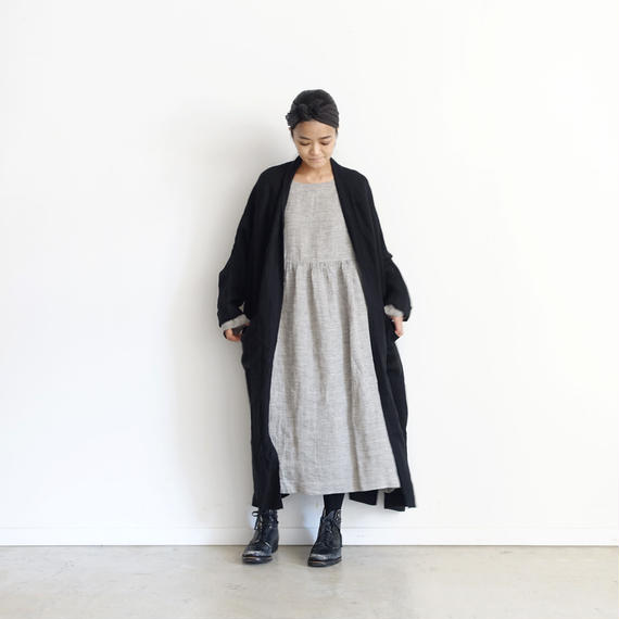 ichiAntiquités 100317 Linen Long Cardigan / BLACK