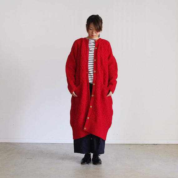 i c h i 180489 Patchwork Knit Long Cardigan / Red