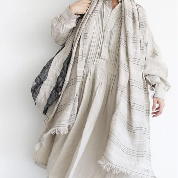 ichiAntiquités 100901  Linen Big Shirt Dress / NATURAL
