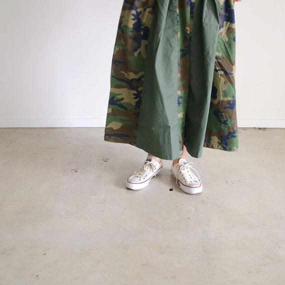 i c h i 180540 Rip Stop Patchwork Skirt / Khaki x Camouflage Dark