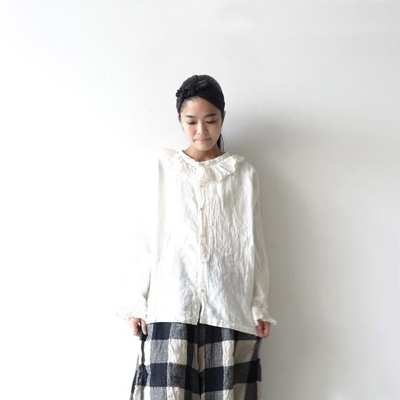 ichiAntiquités 100619 Linen Frill Pullover / WHITE