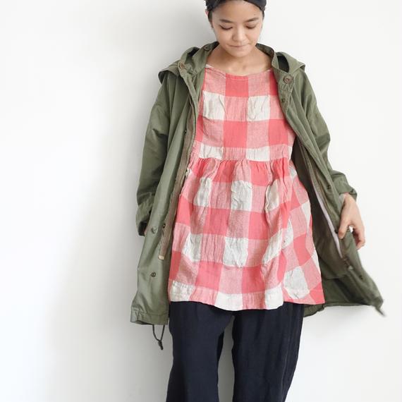 ichiAntiquités 100615 Linen Wool Block Check Pullover / PINK