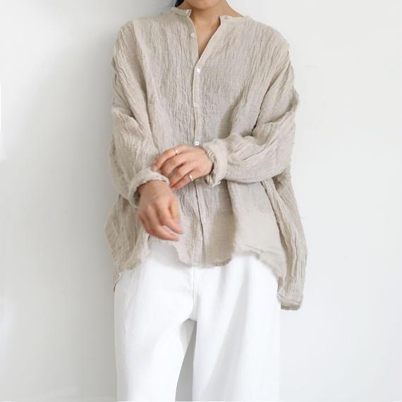 ichiAntiquités 500118  Linen Voile Shirt / NATURAL