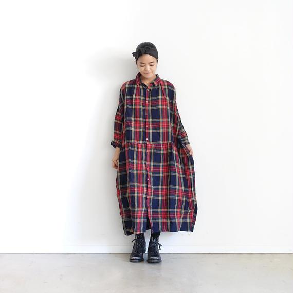ichiAntiquités 100606 LinenTartan Shirt Dress / NAVY