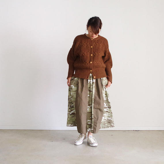 i c h i 180540 Rip Stop Patchwork Skirt / Brown x Camouflage Light