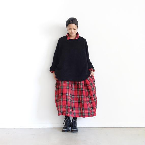 ichiAntiquités 100639 Alpaca mix Knit Wide Pullover / BLACK