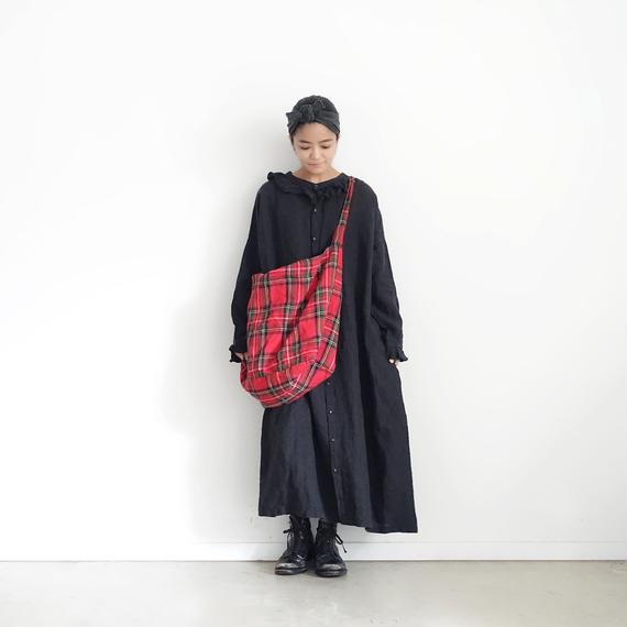 ichiAntiquités 100620 Linen Frill Dress / BLACK