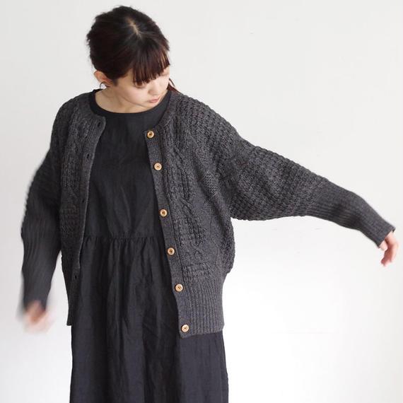 i c h i 180488 Patchwork Knit Cardigan / Charcoal