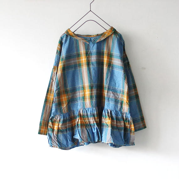i c h i 180718 Indigo Tartan Check Pullover Blouse / Light