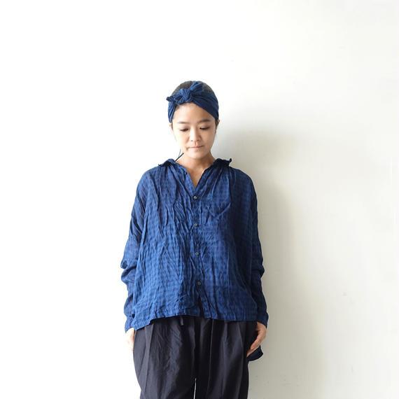 ichiAntiquités 100931 Linen Gingham Handdye Shirt / INDIGO