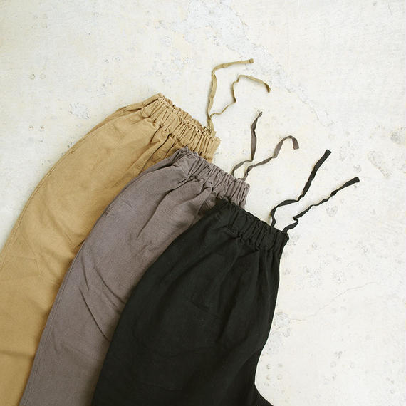 i c h i 180529 Cotton / Linen Relax Pants / Camel