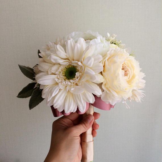 ガーベラのクラッチブーケ&ブートニア&花冠セット