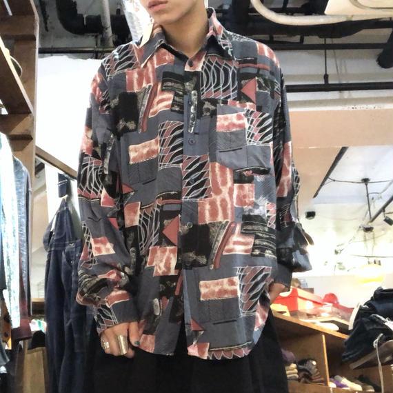 レーヨン総柄L/Sシャツ