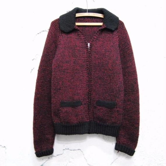 vintage wool zip-up knit