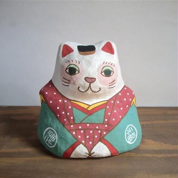 張り子 福猫 Cat of papier-mache