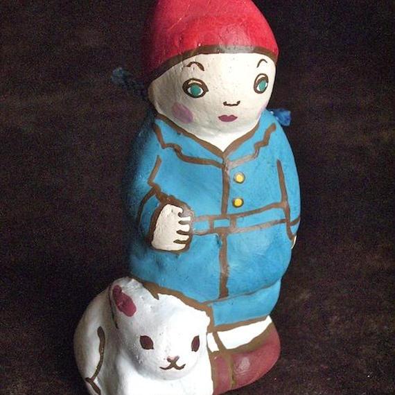 うさぎと少年土鈴 Claybell of Rabbit and boy