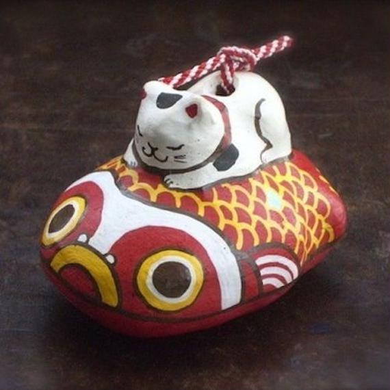 猫ときんとと土鈴 Claybeii of Cat and goldfish