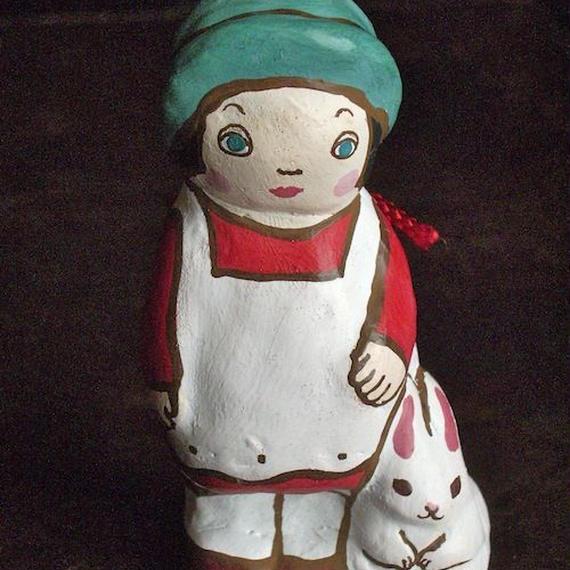 うさぎと少女土鈴 Claybell of Rabbit and girl