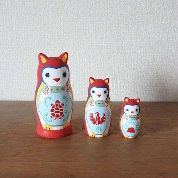 MATRYOSHKA 3sets 赤みみずく Red Owl