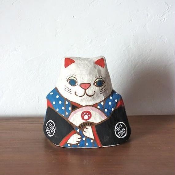 張り子 左扇猫  Cat of papier-mache