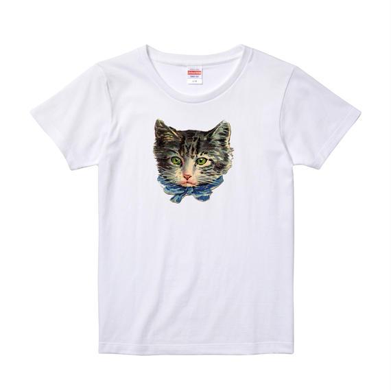 【Ribbon Cat/リボンキャット】5.6オンス Tシャツ/WH/LT-005