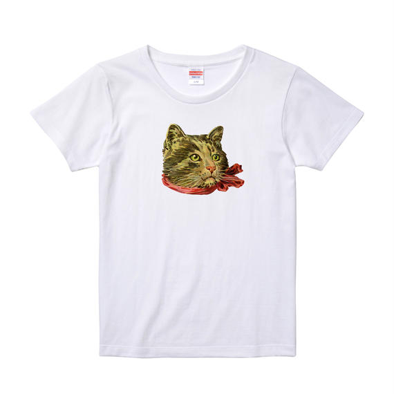 【Ribbon Cat2/リボンキャット2】5.6オンス Tシャツ/WH/LT-004