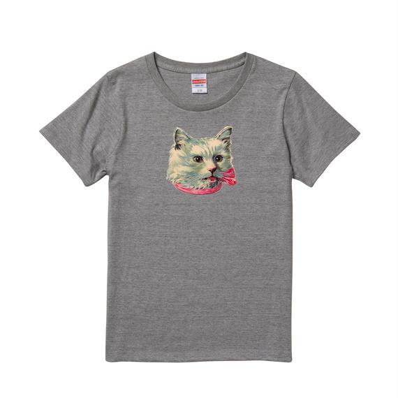 【Ribbon Cat3/リボンキャット3】5.6オンス Tシャツ/GY/LT-006